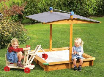 sandspielkasten mickey mit dach bau gartenmarkt. Black Bedroom Furniture Sets. Home Design Ideas