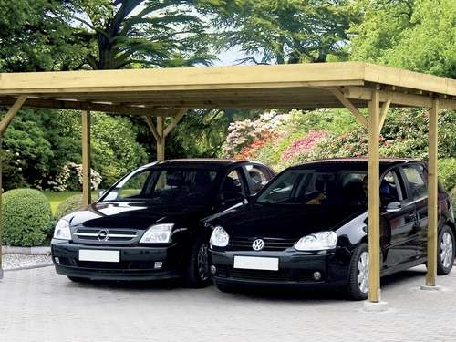 carport aus holz sch tzt auto motorrad und fahrrad. Black Bedroom Furniture Sets. Home Design Ideas