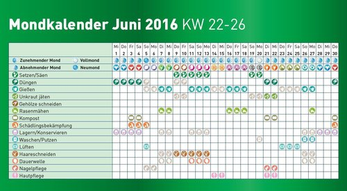 mondkalender 2016 juni immergr n. Black Bedroom Furniture Sets. Home Design Ideas