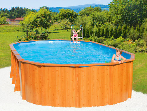 Pool set xxl deluxe woodstyle bau gartenmarkt for Stahl pool oval