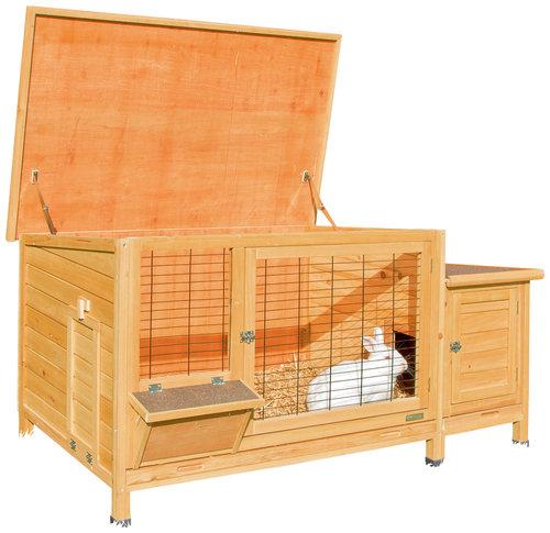 kaninchenstall xxl plus mit heuraufe bau gartenmarkt lagerhaus sortiment. Black Bedroom Furniture Sets. Home Design Ideas